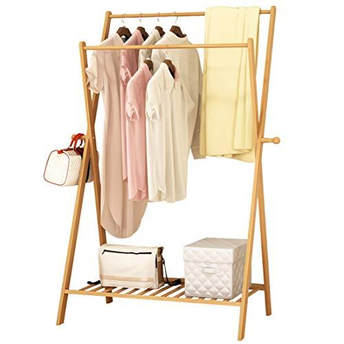 Kleiderständer für Schlafzimmer, Wohnzimmer, Massivholz, doppelstöckig, zum Aufhängen, 70 x 43 x 155 cm