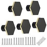 Sumnacon 5pcs Poignée de Porte en Forme de hexagone Bouton de Porte de Placard rétro,décorer le Tiroir, la Commode, Placard, Meuble etc. (noir)