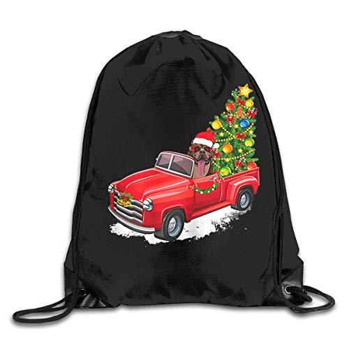 BK Creativity Cinch Bag,American Pitbull Terrier Dog At Christmas Red Truck Cinch Bag,Decorative Drawstring Backpacks For Adults Boys Girls,36x43cm