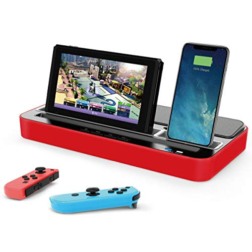 SUMLINK 2021 Newest Multi-Function Charging Socket Dock for Nintendo Switch Charger Speaker Stand with Audio Speaker Multi-Function Base,Red