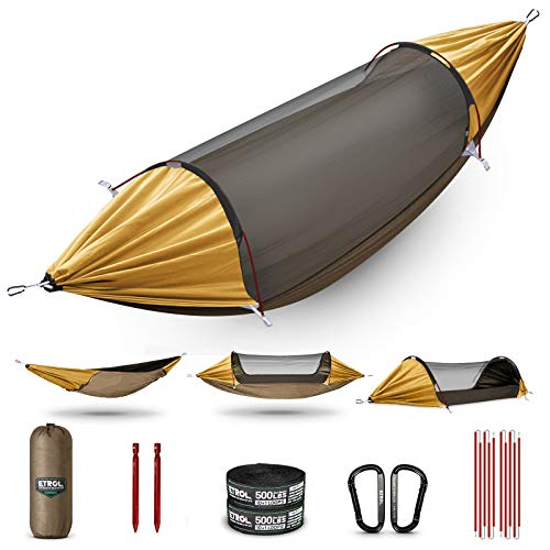 ETROL Hammock, Upgrade Double & Single Camping Hammock with Mosquito Net, Tree Straps, Carabiners, Aluminium Poles, 3 in 1 Function Portable Hammock for Outdoor Hiking Patio Travel—Yellow & Brown