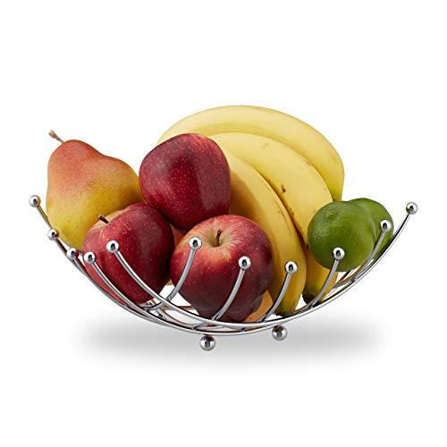 Relaxdays Obstschale, dekorativer Obstkorb, Eisen verchromt, Obst & Gemüse, Gitter Design, HBT: 10 x 26 x 26 cm, silber