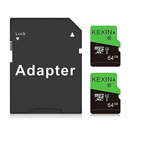 KEXIN 64GB Schede Micro SD Set da 2 Scheda di Memoria MicroSDXC Velocità fino a 85 MB sec Classe 10 UHS-1 Scheda MicroSD TF Scheda SD Card per Telefono, Fotocamera, Sistema di Sicurezza (Nero Verde)