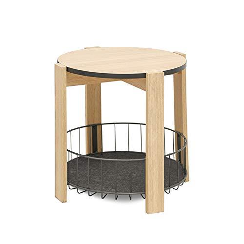 KXDLR houten salontafel, dubbellagig bijzettafel, eindtafel, mesh-plank smal en ruimtebesparend in woonkamer, slaapkamer, 49X49X50CM