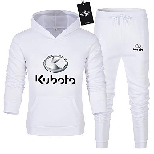 Hönack Hombre y Mujer Chándal Para Ku-Bota.s Color Sólido Suéter de Dos Piezas con Capucha Pantalones Ropa Deportiva Saco/Blanco/XL