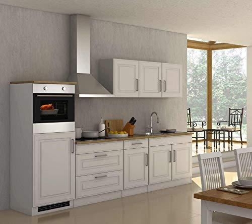 lifestyle4living Küche mit Elektrogeräten 290cm | Landhausküche Küchenzeile Küchenblock Einbauküche E-Geräte | Weiss