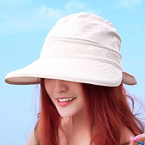 QND,Sombrero,Solid Beach Bowknot Estilo Coreano Señoras Viajes Viseras prácticas Senderismo Sombrero para el Sol al Aire Libre Gorra Plegable, Beige, China