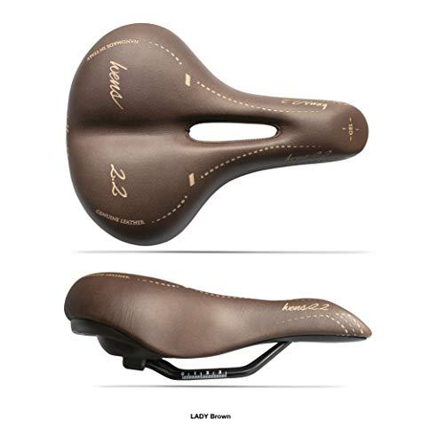 Sattel für Trekking-Fahrrad, für Damen, Modell WENS 2.2, Echtleder + Gel, für Stadtrad, handgefertigt in Italien 2020 - braun