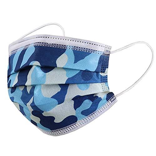 DECADE - Mundschutz Einwegmaske Mundschutz Staubschutz Masken mit Ohrschlaufen - Leuchtend (Camouflage Blau)