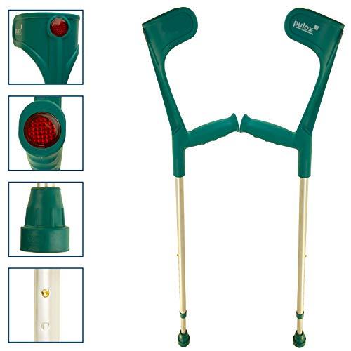 Krücken Paar Klassiker 140 Kg Unterarmgehstützen von Ossenberg mit Ergo Softgriff Gehhilfen Pulox-Design (Türkis)
