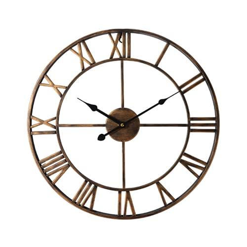 QLWY Reloj de Pared silencioso, Reloj de Pared Circular, Reloj de Pared Vintage, diseño metálico, Durable y Hermoso, para salón Cocina café Hotel y Oficina (Golden,40cm)