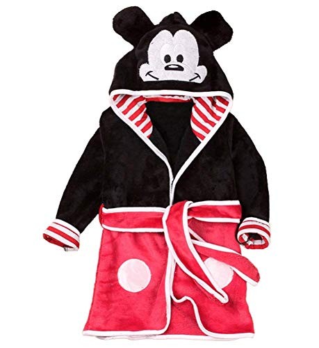 Talla 120-4/5 años - Mickey Mouse - Mouse - Bata - Albornoz - para Dormitorio - Noche - Pijama - niño - Forro Polar Suave - con Capucha - Personajes