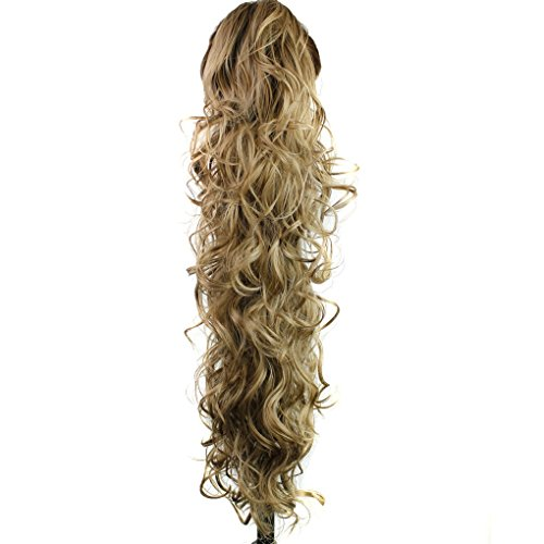 S-ssoy 31(78cm) Womens Curly Pony Tail Hair Piece Synthetic Claw Clip Ponytail Wavy Long Curled in Hair Extension Extensions Long/Voluminous Wig Hairpieces for Women Girls Lady,16M18#