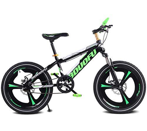 TX Mountain Bike per Bambini Lega di Magnesio con Leva del Cambio Ruota A Raggi Ammortizzatore,Green,18inch