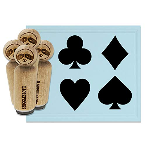 Playing Card Suit Symbols Clubs Diamonds Hearts Spades Rubber Stamp Set for Stamping Crafting Planners - 1/2 Inch Mini