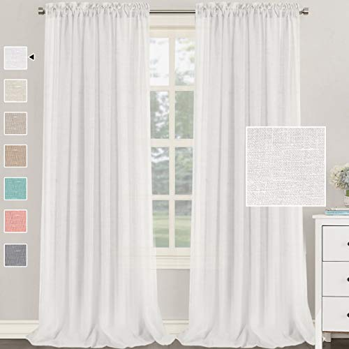 H.VERSAILTEX Natural Linen Blended Curtains 108 Inches Length 2 Panels Textured Woven Linen Sheer Curtain Drapes for Living Room/Bedroom Light Filtering Rod Pocket Casual Draperies - White
