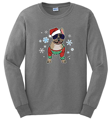 French Bulldog Dog Owner Gifts Christmas Clothes Frenchie in a Christmas Sweater Long Sleeve T-Shirt 2XL SpGry Sport Grey