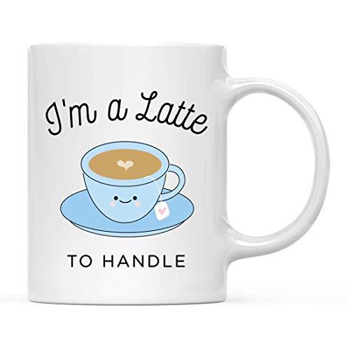 N\A Lustiges Essen Wortspiel Keramik Kaffee Tee Tasse Geschenk, ich Bin EIN Latte zu handhaben, Latte Kaffee Grafik, 1-Pack, Geburtstag Weihnachten Geschenkideen