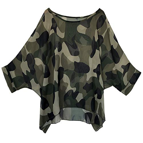 Women's Loose Batwing Blouse Chiffon Top Camouflage Printed Kimono Poncho Tunic Kaftan Cover up