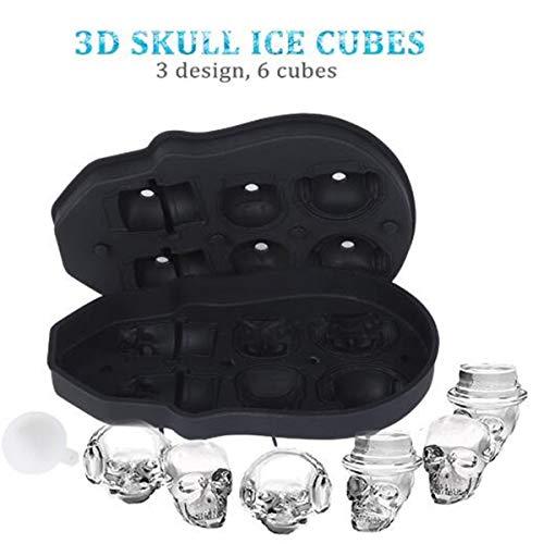Totenkopf-Eiswürfelformen, flexible Silikon-Eiswürfelform, lustiger Eisschädel für Whiskey, Cocktails und Saft Getränke mit Mini-Trichter