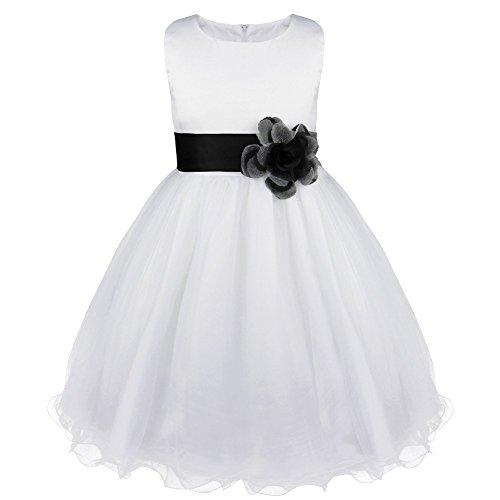 TiaoBug Kinder Kleid Blumen-Mädchen Kleidung Hochzeit Festlich 92 98 104 110 116 128 140 152 164 Schwarz 128