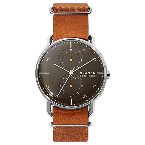 Skagen Herren Analog Quarz Uhr mit Echtes Leder Armband SKW6537