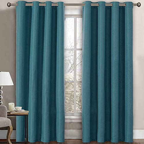 Linen Curtains Room Darkening Light Blocking Thermal Insulated Heavy Weight Textured Rich Linen Burlap Curtains for Bedroom / Living Room Curtain, 52 by 84 Inch - Aegean Blue (1 Panel)