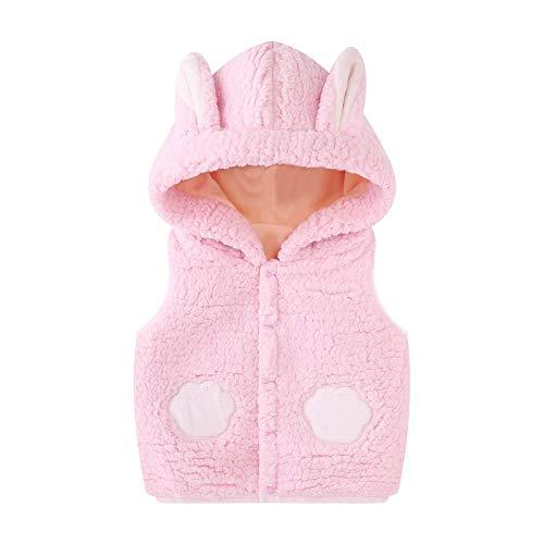 Minizone Bambini Gilet con Cappuccio, Neonato Vest Invernale Fleece Smanicato Snowsuit Outfits Giubbotto Giacca Outwear Vestiti Regalo 6-12 Mesi,Rosa
