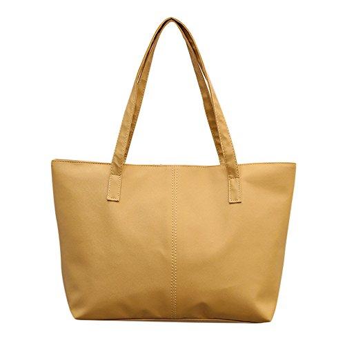 Handtasche Aus Echtem BüFfel Leder Im Vintage Look Handbags Damen Shopper Schultertasche Leder Celebrity Tote Reisetasche Groß Zahnstocher Muster UmhäNgetasche Einfarbig(Khaki,Freie Größe)