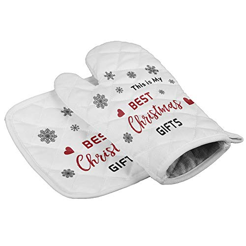 Oven Mitt and Pot Holder Set, Anti Heat Non-Slip Food Grade Kitchen Mitten, Safe Insulated Glove for Kitchen, Cooking, Baking, BBQ This is My Best Christmas Gifts Snowflake