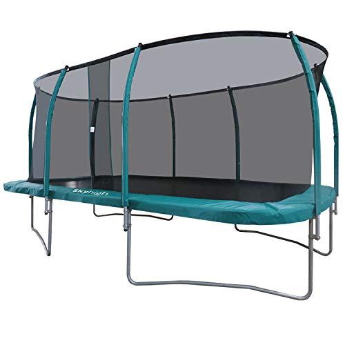 Skyhigh 10 voet x 17 voet rechthoekige trampoline en veiligheid behuizing. Prachtige Specs en Giant Ruime Bounce Area!