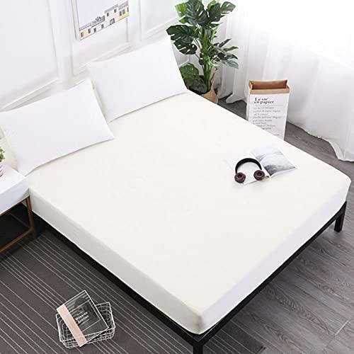DSman Protector de colchón - cubrecolchón Transpirable Sábana Pure Color Comfortable-Beige_200 * 220 * 30cm