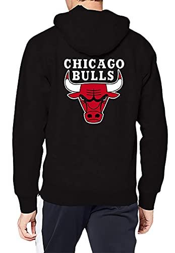 Chicago Bulls Bomber - Sudadera con capucha para hombre, Sudadera con capucha de forro polar negro., XS