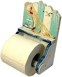 Stock4u Nautische/Seaside Thema Houten Shabby Chic Toiletrolhouder met Jacht (53018)