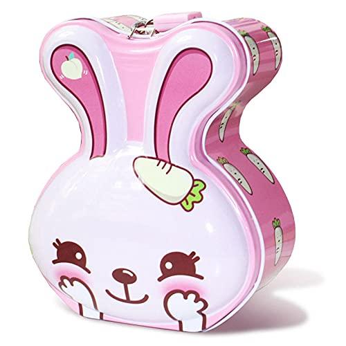 Hucha Decoración Billetes Y Monedas Ahorrar Dinero Conejo Children's Piggy Bank Anti-Fall Girl Bank con Lock Creative Kindergarten Regalo