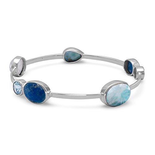 925 Sterling Silber 1,5 mm stapelbarer Armreif Armband Larimar Blautopas gefärbter Aquamarin Regenbogen himmlischer Mondstein Schmuck Geschenke für Frauen