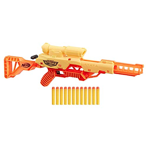 Nerf Plastic Alpha Strike Wolf Lr-1 Blaster with Targeting Scope, 12 Darts, Breech Load, Pump Action, Easy Load, Multicolour