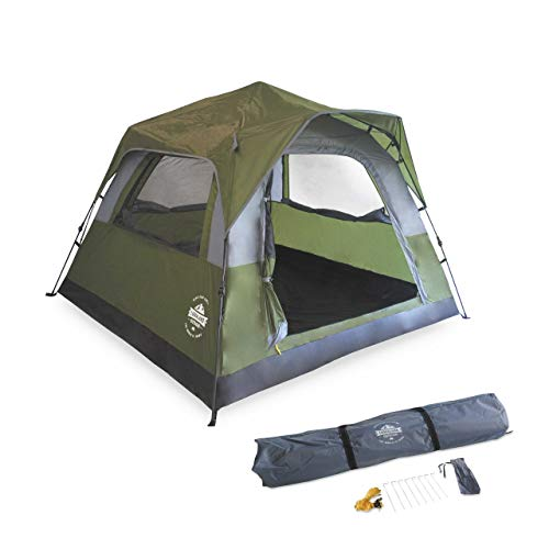Lumaland Outdoor Waterproof 3 Person Pop Up Comfort Tent Taped Seams Festival Tent 210 x 210 x 140 cm with carry bag and Sewn-in Groundsheet in Green
