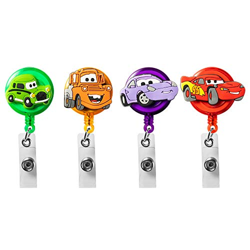 VERSRH 4PCS Race Car Retractable Badge Holder, Cartoon Badge Clips with Retractable Cord, 4 Different Race Car Cartoon Pattern Badge Holder Reel Clip, ID Card Badge Clips for Kids Office Staff Student