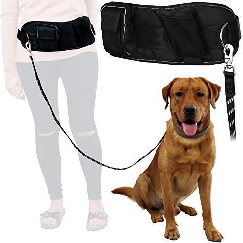 TW24 Hunde Joggingleine mit Bauchtasche bis 50 kg Führleine Hund Leine Hundeleine Laufleine Bauchgurt