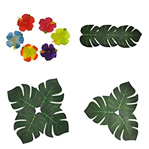 Artificial Tropical Palm Leaves and Hibiscus Flowers,Faux Monstera Leaf,Fake Palm Leaves,Hawaiian Leafs,Green Palm Leaves Tropical Safari Jungle Hawaiian Tiki hojas theme party decorations (16PCS)