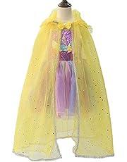 JJAIR Princesa del Cabo Capas de Las Muchachas, Vestido del Traje de Bling de la Princesa Vestido de la Flor del Brillo de Halloween Partido Batas Capa de Princesa Cosplay de Vestir,Amarillo,110
