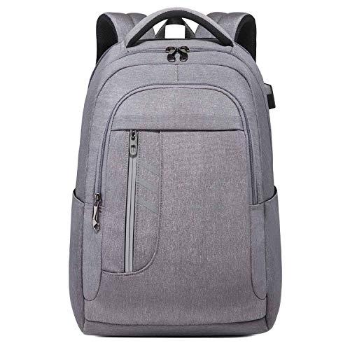 Neuleben Rucksack mit Diebstahlschutz USB Ladeport Reflexstreifen Wasserabweisend 15,6 Zoll Laptop Rucksäcke Daypack für Arbeit Schule Business Damen Herren (Grau)
