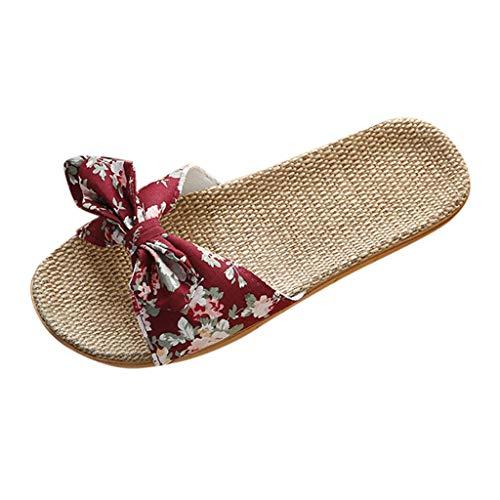 i-uend Damen Bowknot Flachs Sandalen, Leinen Flip Flops Strand/Freizeitschuhe Casual Espadrilles Trim Flatform Studded Wedge