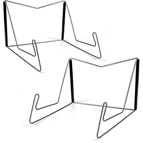 2Pcs Fold-n-Stow Book Stands, Metal Bookstand Music Book Easel Display Holder, Portable Reading Stand Book Holder, Book Bookrest for Hardcover Textbook I pad Cookbook Recipe