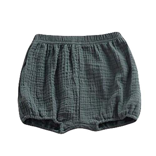 LOOLY Baby Bloomers Unisex Baby Girls Boys Cotton Linen Blend Shorts (80, Green)