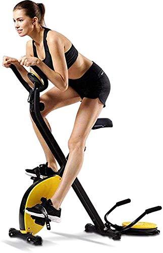 WGFGXQ Bicicleta estática Plegable Bicicleta de Ciclismo para Interiores Bicicleta Vertical magnética Bicicleta estática con manijas de flexión en la Cintura Monitor LCD para Entrenamiento cardiova