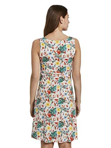 TOM TAILOR Damen Kleider & Jumpsuits Gemustertes Kleid mit V-Ausschnitt White Watercolor Flower Design,36