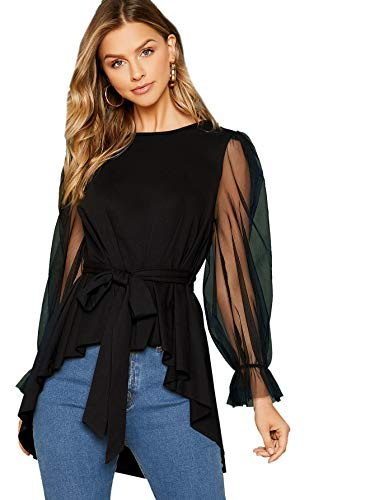 Romwe Women's Elegant Mesh High Low Ruffle Hem Lantern Long Sleeve Belted Blouse Tops Black#1 Large