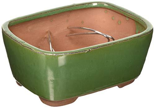 Brussel's Bonsai Brussel's 6' Rectangle Indented Cornder Glazed Ceramic Pot (Small, Sesame Green)